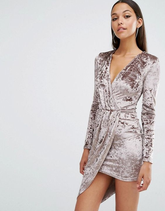 Club L Crushed Velvet Wrap Over Long Sleeve Dress: