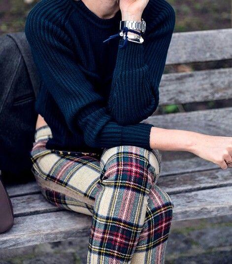 Skinny Stuart tartan pants with an oversized navy jumper.