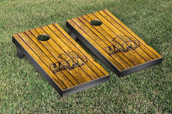 University of Arkansas-Pine Bluff Golden Lions Weathered Wood w/ Logo Cornhole Board & Bag Set