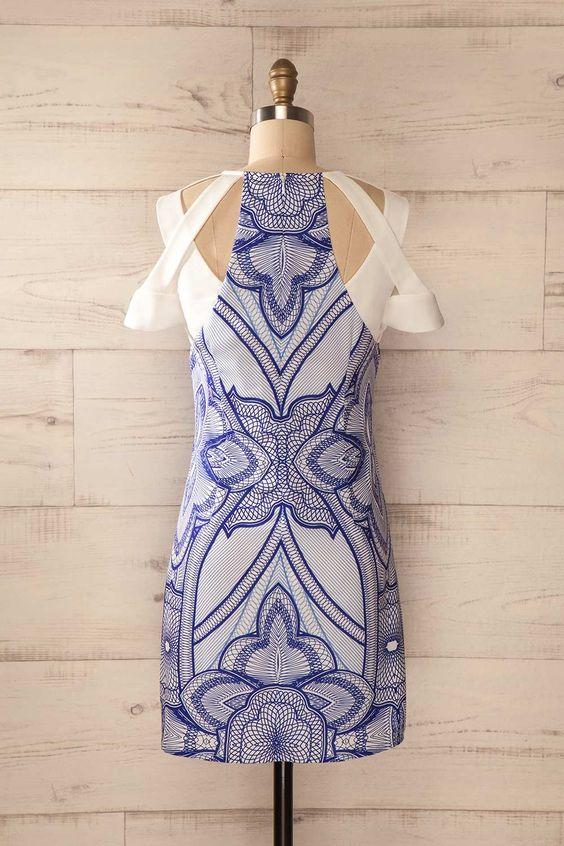 Kellaria - Blue print shoulder cut-outs shift dress