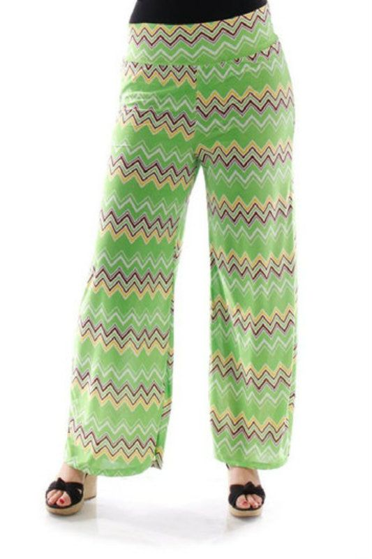 Online Clothing Boutique | Kelly Brett Boutique - Plus Size Palazzo Pants Chevron Green, $15.00 (http://www.kellybrettboutique.com/plus-size-palazzo-pants-chevron-green/)