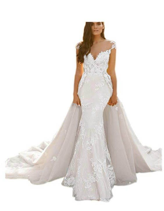 15 Detachable Train Wedding Dresses Under 200 Dollars For Brides Who Want A Removable Train Chiclypoised Detachable Train Wedding Dress Wedding Dress Train Mermaid Wedding Dress