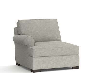 Townsend Upholstered Left Arm Chair, Polyester Wrapped Cushions, Premium Performance Basketweave Light Gray