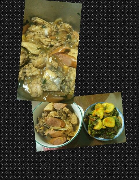 My new chicken with sausages adobo and spicy cucumber with korean sangchu (lettuce)...healthy food healthy life :)
