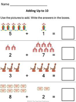 Circus Addition: Sums 5 to 10 | Pinterest | Colors, Addition ...