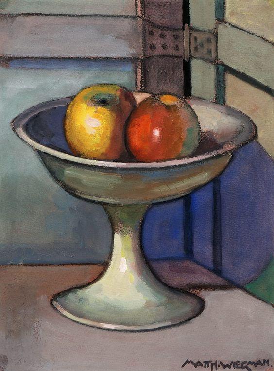 Stilleven met appels in een schaal, aquarel. Afkomstig van familie van de kunstenaar. Mathieu Wiegman. Veilinggebouw De Zwaan - Database: