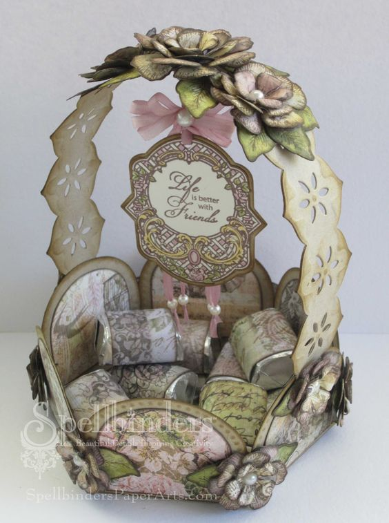 Designs by Marisa: Spellbinders Guest Blogger! Life is Better with Friends Candy Basket