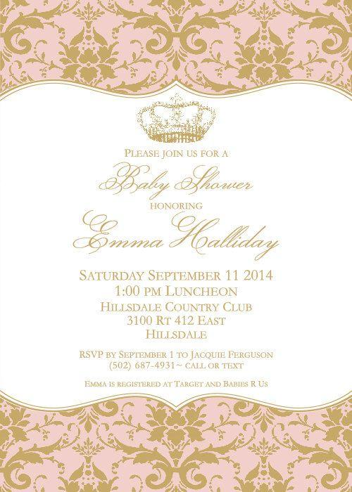 princess princess baby and more baby girls babies shower invitations