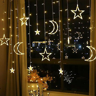 LED Light Chain Christmas Lighting Curtain Stars Window Light Outside Decor US