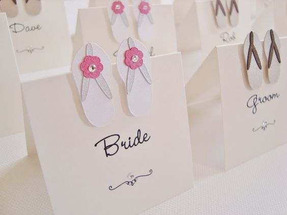 Flip Flops Wedding Place Cards www.ohsopurrfect.co.uk