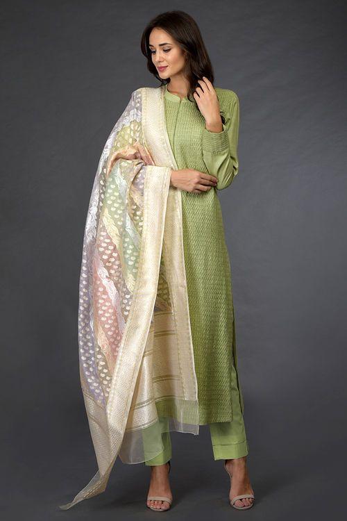 Pant Suit With Banarasi Dupatta