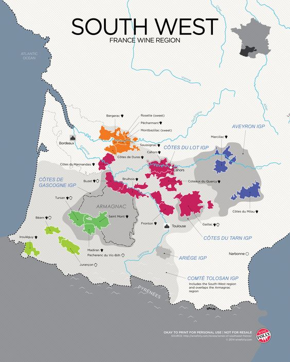 "[Maps] ""Wines of South West France"" Feb-2014 by Winefolly.com - Bergerac, Montbazillac, Côtes du Lot, Côtes du Tarn, Armagnac"