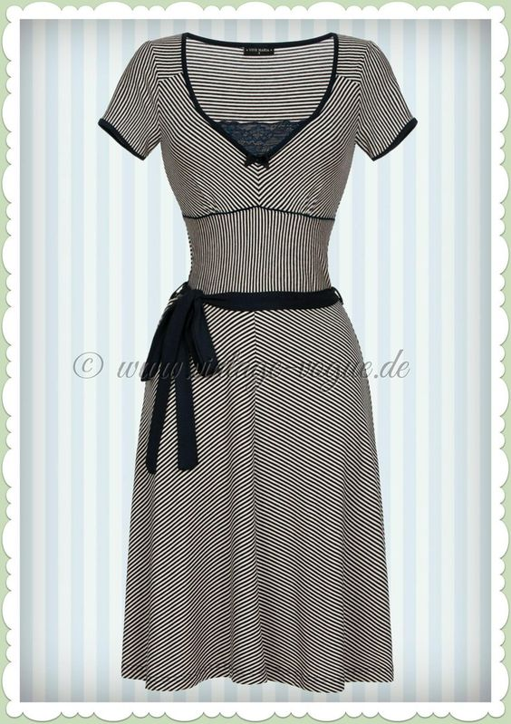 Vive Maria 40er Jahre Vintage Streifen Kleid -Sailor Ahoi Dress- Navy