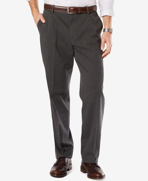 Dockers Men's Signature Classic-Fit Khaki Flat-Front Stretch Pants