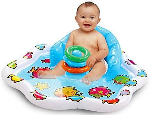 Amazon Com Bundaloo Infant Pool Splash Mat Inflatable With Backrest Stackable Ring Toys Summer Fun Fun Summer Activities Infant Activities Fun Activities