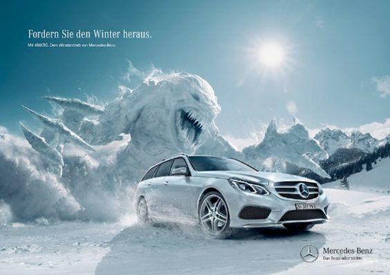 """Mercedes Benz: """"Fordern Sie den Winter heraus"""" print ad, via BlickeDeeler"""