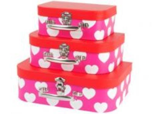 JIP koffersetje roze met wit hart