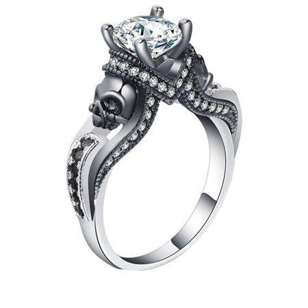 Engagement Ring Set Skull Skeleton Womens Rings Fashion Goth Punk Jewelry