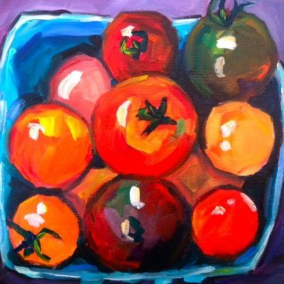 A Basket of Cherry Tomatoes 8x8 oil painting by artist Elizabeth Fraser