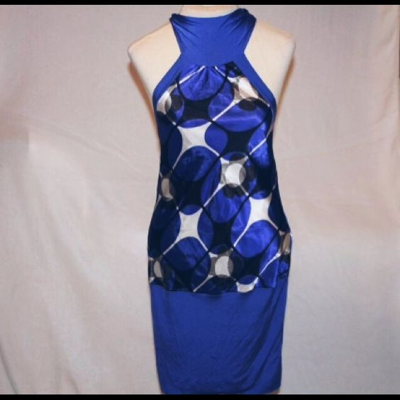 Blue halter or possibly a going out dress . Tops