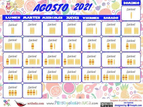 Calendario palillos infantil ABN – Agosto 2021