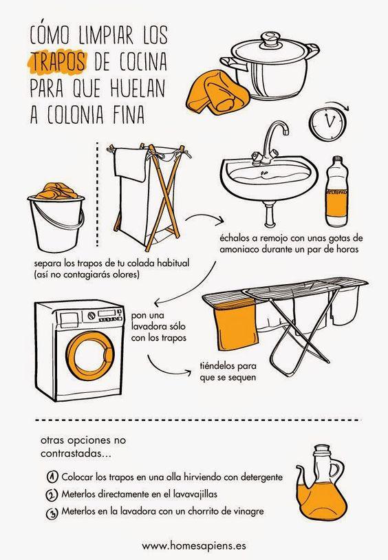 C mo limpiar los trapos de cocina para que huelan for Con que limpiar los armarios de la cocina