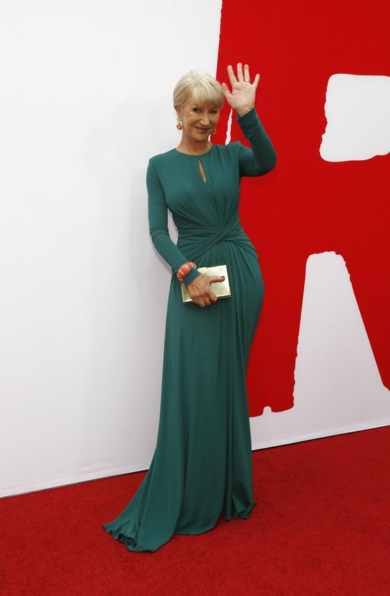 Helen Mirren in green Elie Saab gown at Red 2 film premiere in Los Angeles, Ca 2013