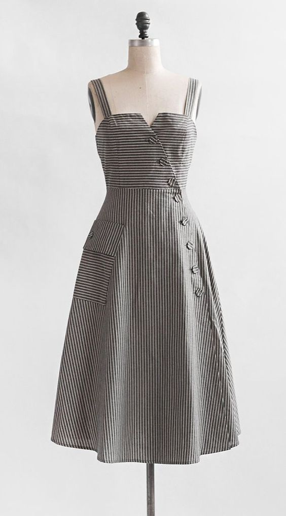 Vintage Inspired Dress / Striped Midi Cotton Linen Dress / Factory Girl Dress
