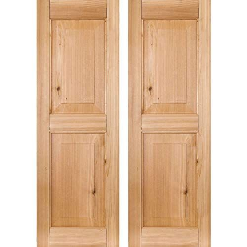Unfinished Per Pair 12W x 29H Ekena Millwork RWR12X029UNP Exterior Real Wood Pine Raised Panel Shutters