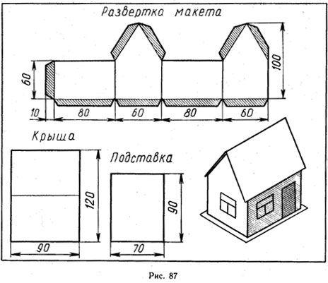Макет дома из бумаги для начинающих схемы для детей