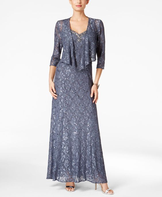 Alex Evenings Embellished Lace Gown and Draped Jacket
