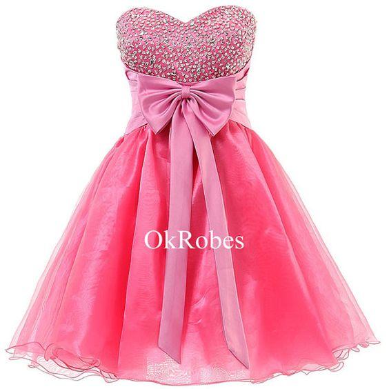 Short Sweet 16 Dress Pink Sweetheart Organza Mini Prom Cocktail Cute ...