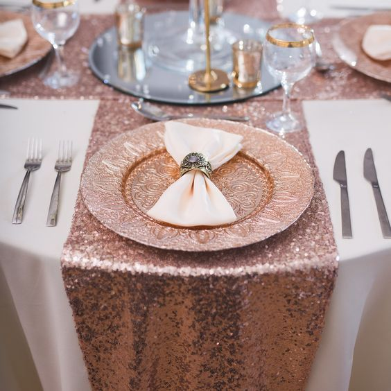 rose gold sequin chair bands rose gold table runners wedding party decoration