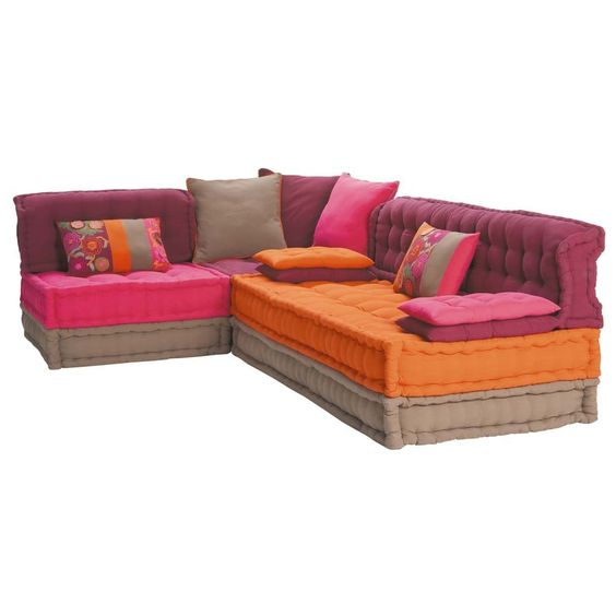 5 seater cotton corner day bed, multicoloured Bolchoï | Maisons du ...