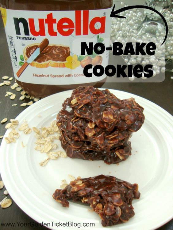 No bake cookies, Nutella and Super simple on Pinterest