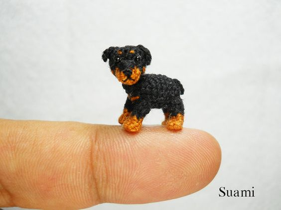 Miniature Rottweiler Puppy Dog - Tiny Crochet Mini Amigurumi Dog Stuff Animal - not really a pet product per se, but a whole shop full of RIDICULOUSLY TINY crochet'd things!!! :O