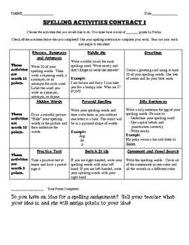 Differentiated Spelling Contract Choice Board For Upper Elementary