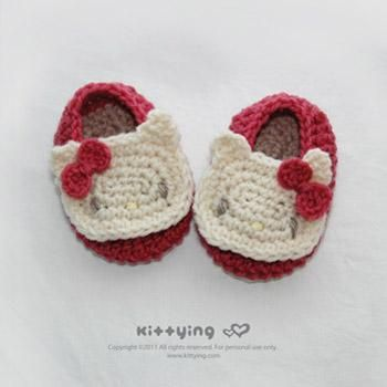 Hello Kitty Baby Booties Crochet Pattern Hooking Like It ...