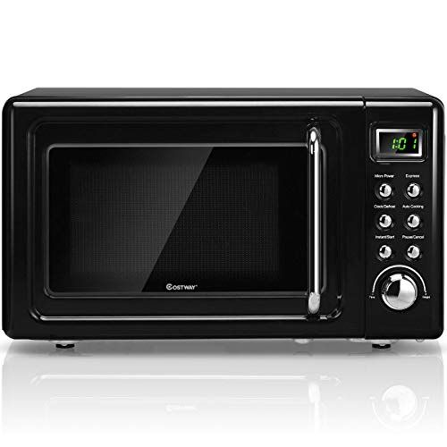 Costway Retro Countertop Microwave Oven 0 7cu Ft 700 Watt Cold