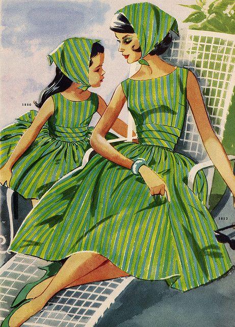 charming vintage green mother daughter dresses: