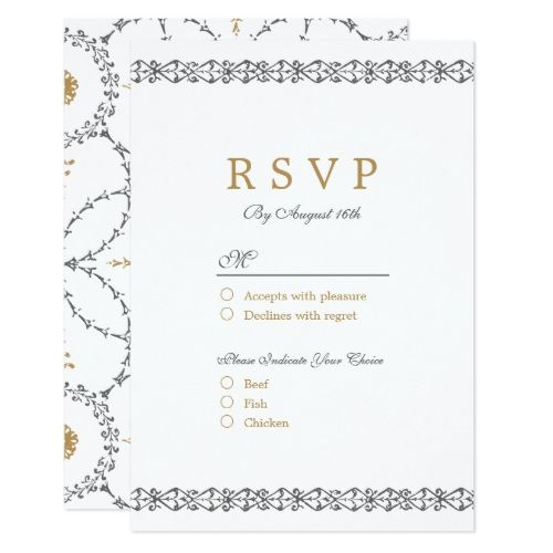 Elegant Formal Classic Vintage Wedding Rsvp Card  Formal Wedding