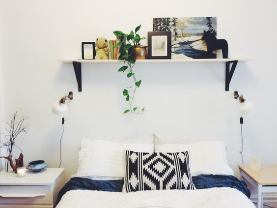 DIY Simple Shelf Over The Bed: