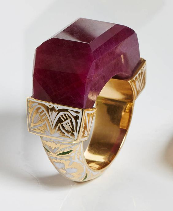 Jade Jagger NeverEnding Ruby Enamel Ring | From a unique collection of vintage more rings at https://www.1stdibs.com/jewelry/rings/more-rings/