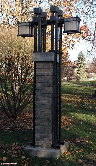 Lamp Post. Edward P. Irving House. Frank Lloyd Wright. 1909. Prairie Style. Supervised by Marion Mahony, Hermann von Holst and Walter Burley Griffin. Decatur, Illinois.