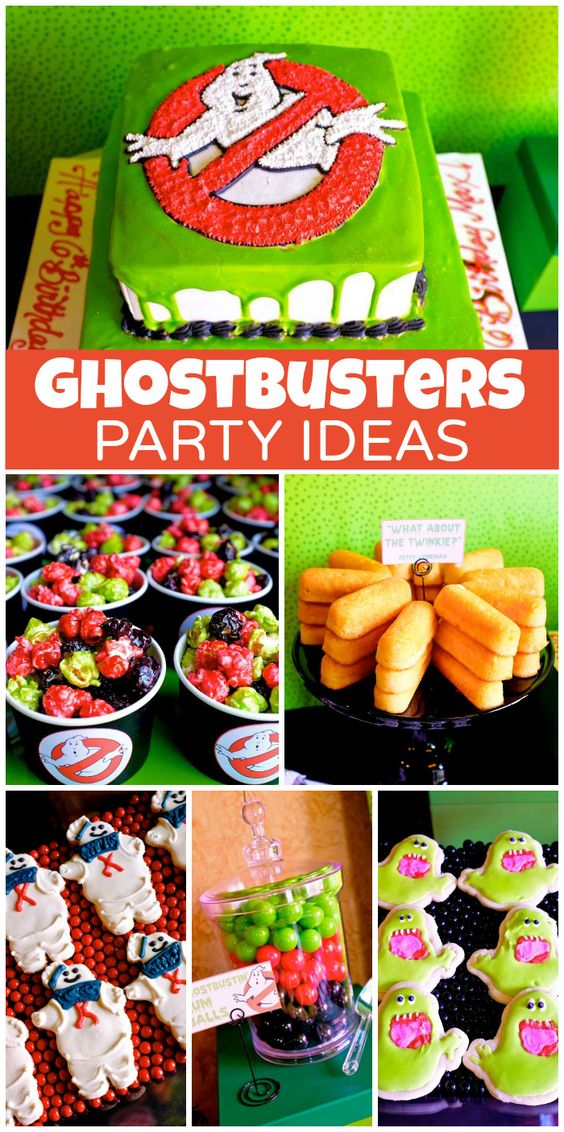 A Ghostbusters birthday party with a chocolate fountain with green slime and ectoplasm drinks!  See more party planning ideas at CatchMyParty.com!