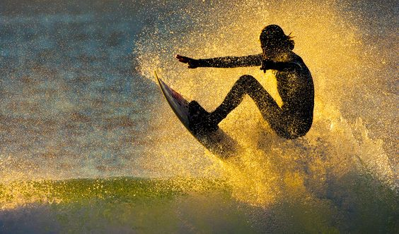 Balance of Power, Sunrise surfer South Africa by Andrew Aveley