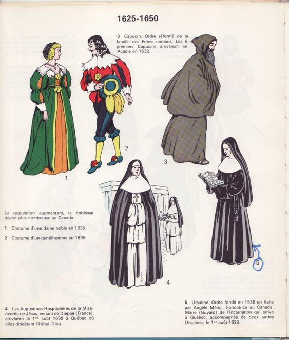 Costumes de la Nouvelle-France, 1625-1650. Image extraite du livre de Rodolphe Vincent, Notre costume civil et religieux, Montréal, c.1965.
