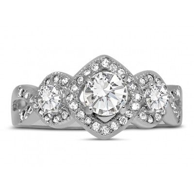 Unique Trilogy 1 Carat Infinity Round Diamond Engagement Ring in 10k White Gold for Women showcases 1/3 carat Round diamond in center, surrounded with 2/3 carat diamonds, for total 1 carat weight