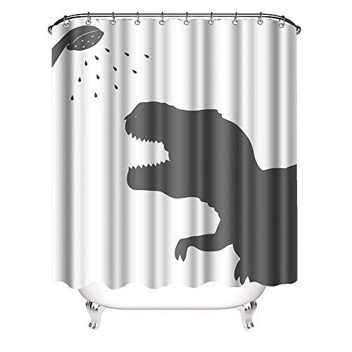 Vividhome Silhouette Fabric Dinosaur Shower Curtain Cute Shower