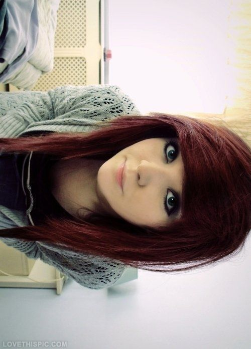Dark red hair with perfect bangs